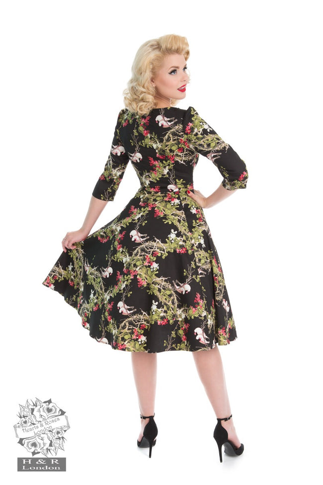 Vintage 1950s Style Hearts & Roses Into The Woods Dress