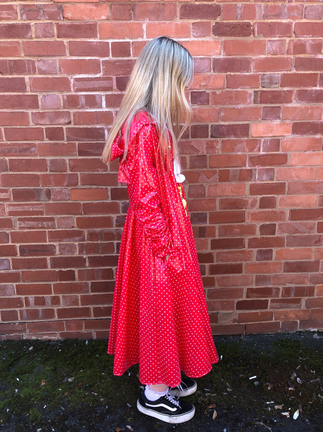 Red & White Polka Dot Flared Long PVC Raincoat