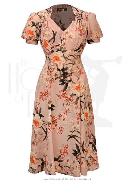 House of Foxy 1940s Tea Dance Dress - Spring Orient