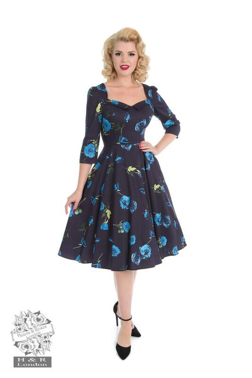 1950s Vintage Style Hearts & Roses Blue Melody Dress