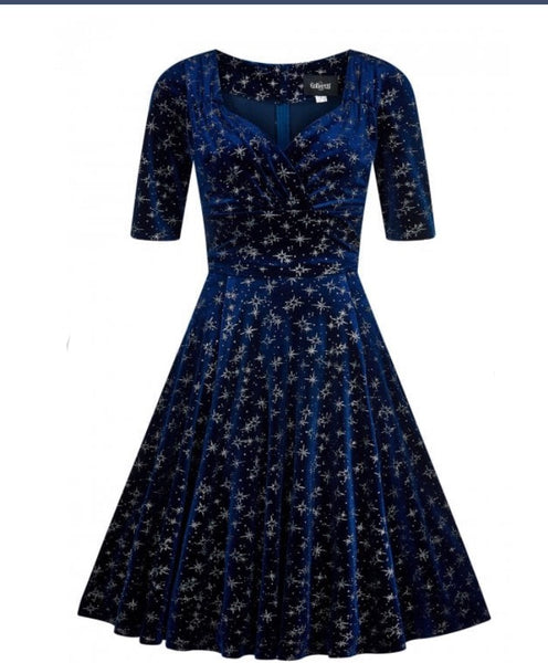 Collectif Mainline Trixie Velvet Sparkle Doll Dress