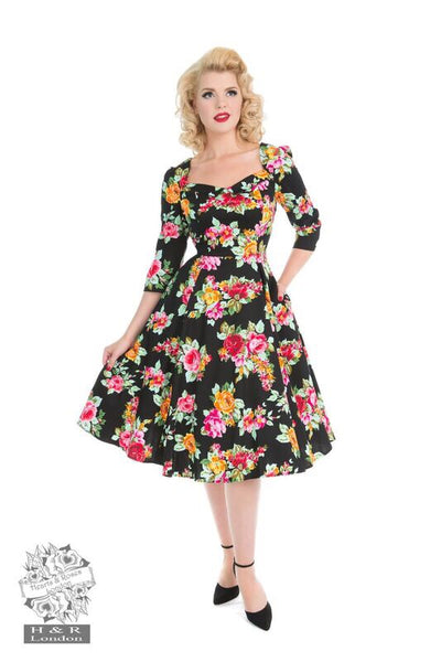 Vintage 1950s Style Hearts & Roses Zena Dress