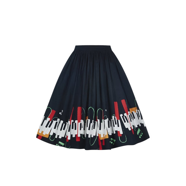 COLLECTIF MAINLINE JASMINE JAZZ PIANO SWING SKIRT