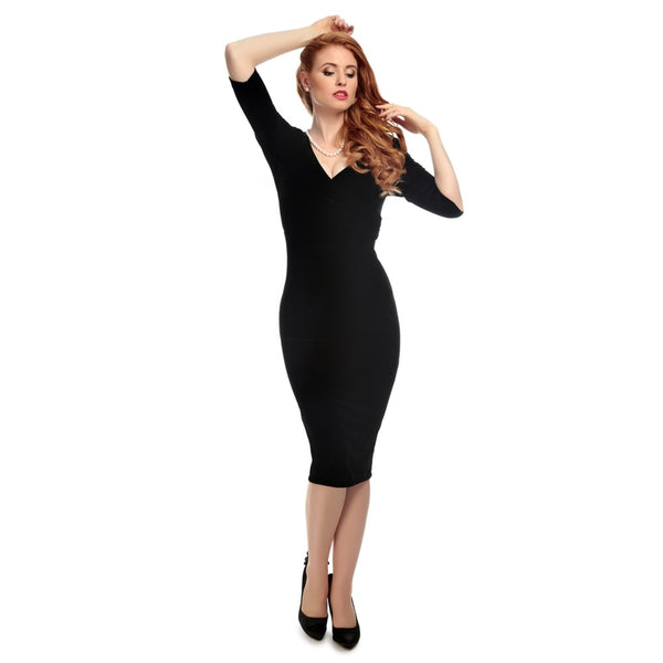 COLLECTIF MAINLINE PHYLLIS VELVET PENCIL DRESS