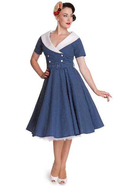 Claudia Blue & White Spotty Reproduction 1950s Dress
