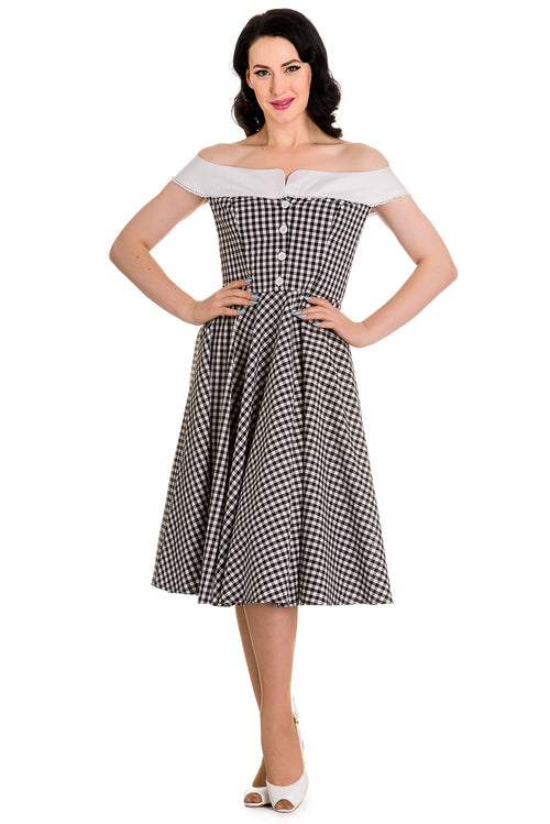 Mary Anne Black & White Check Reproduction 50s Dress