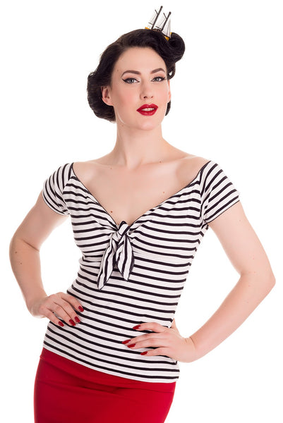 Hell Bunny Black & White Striped Top