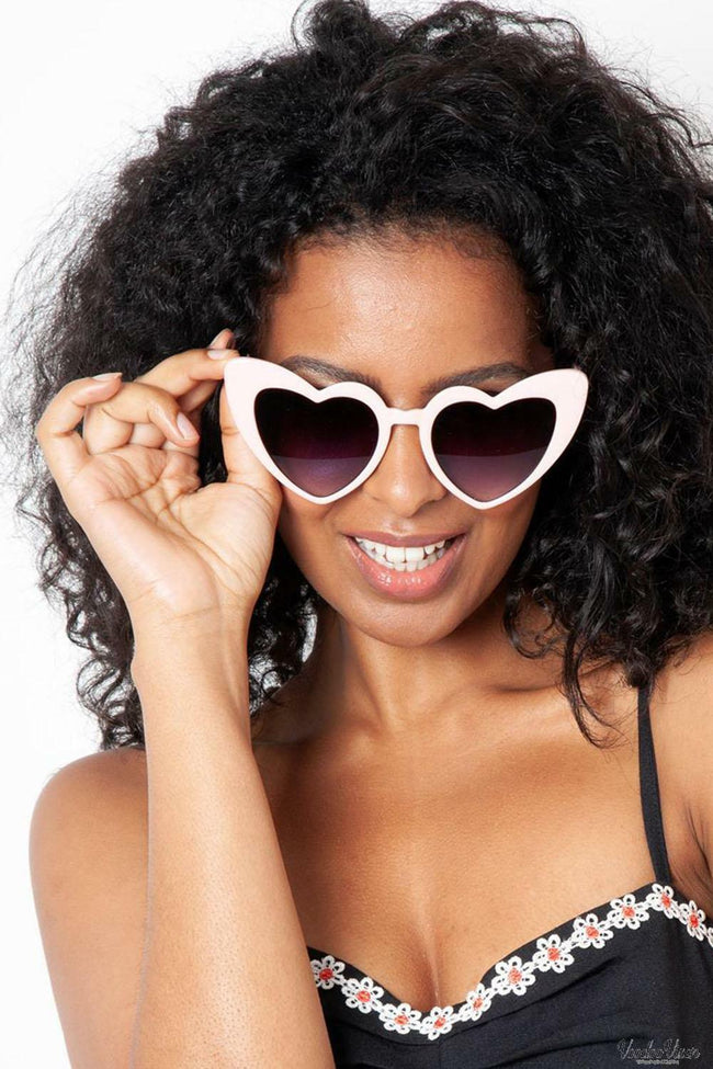 Loulou Pink Heart Shaped Sunglasses