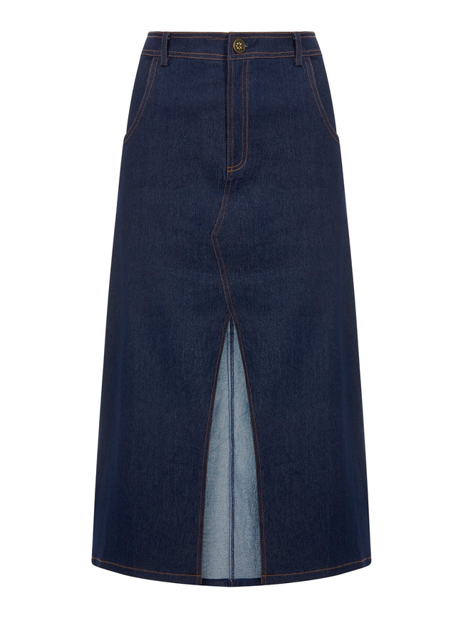 COLLECTIF BRIGHT & BEAUTIFUL SOFIA DENIM SKIRT