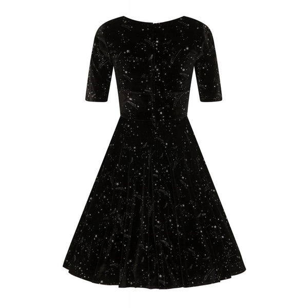 Collectif Mainline Trixie Black Velvet Make a Wish Doll Dress