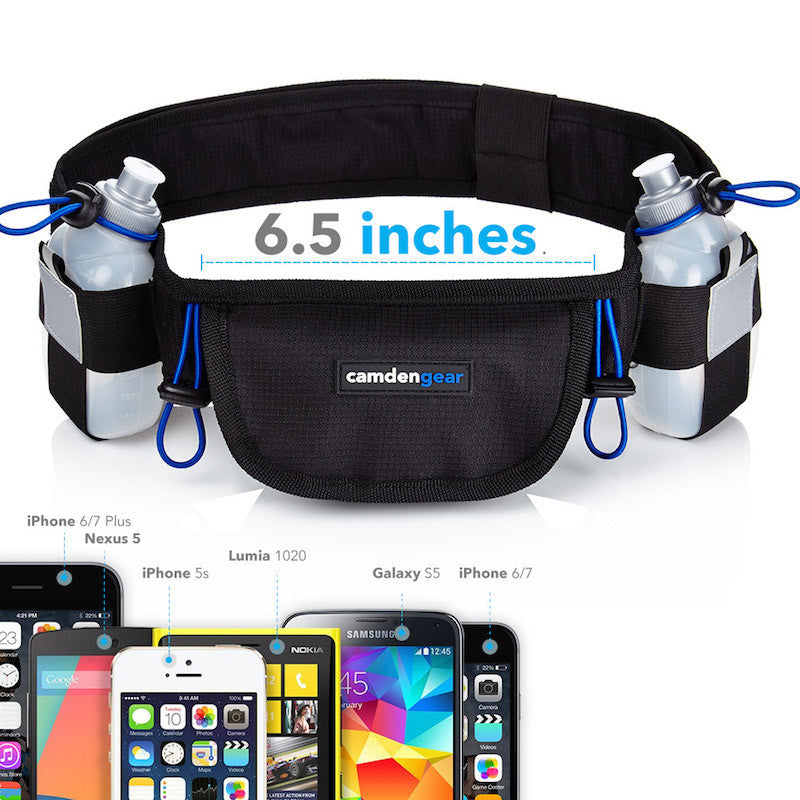 Running Belt For Phone, Hydration Fanny Pack, Black, 2 Bottle Pack by Camden Gear