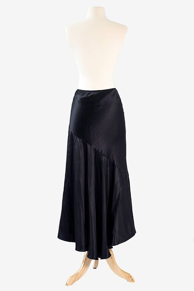 Black Satin Practice Skirt with High-low Hem.