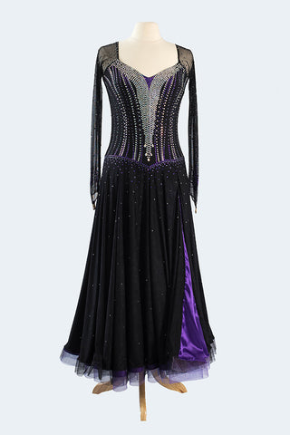 Black Smooth Gown with Purple Accent