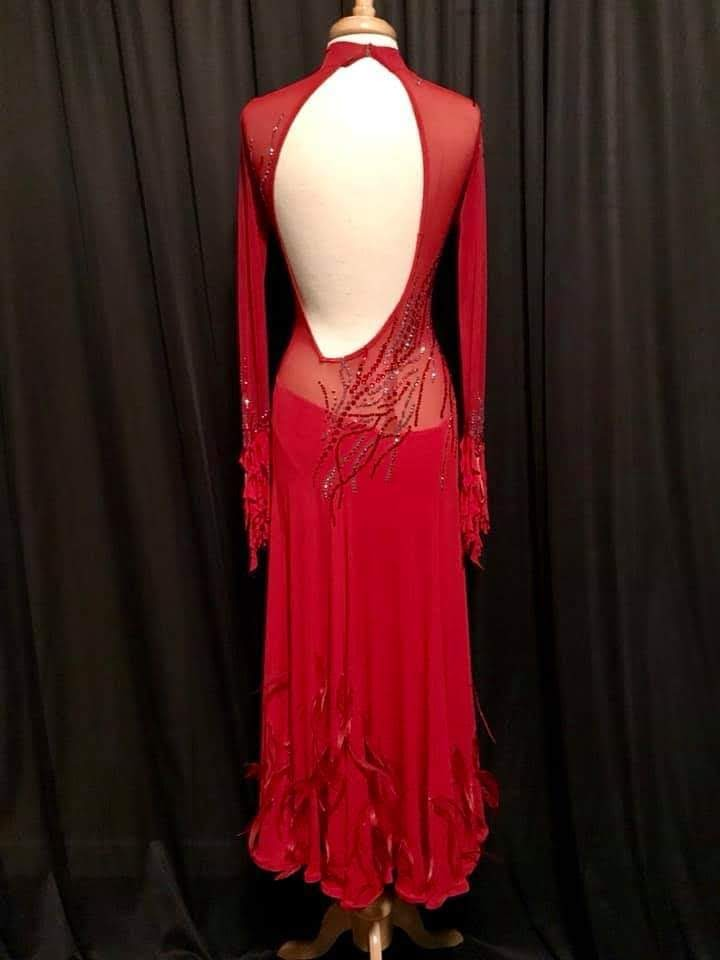 Red Smooth Gown Rent