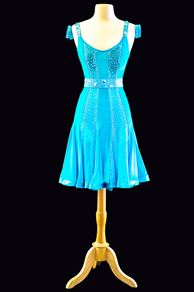Teal Velvet Latin Gown