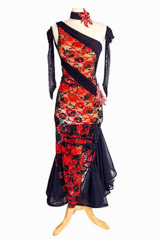 Elle Attelier Black and Red Latin Gown