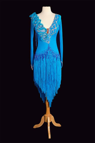 Mimski Electric Blue Latin Gown
