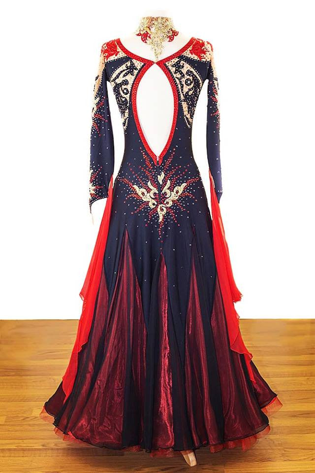 Danscouture Black and Red Gown