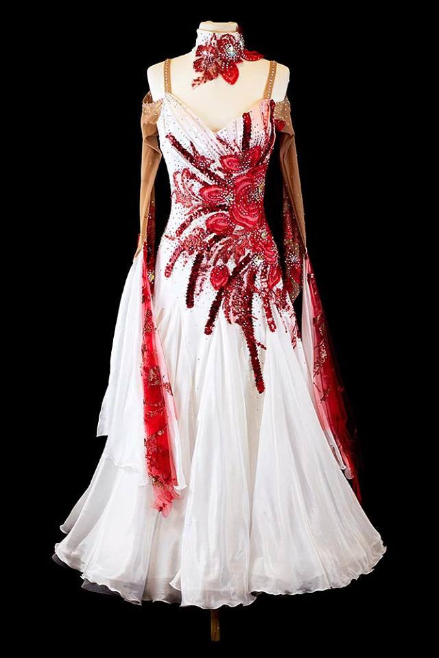 Danscouture White and Red Gown