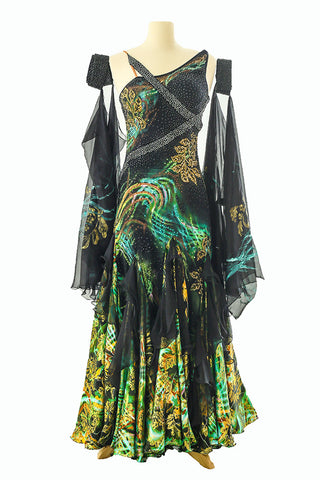 Dore Black, Green and Gold Gown