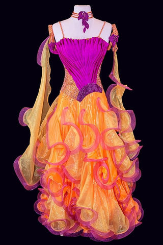Marabo Orange Purple Gown
