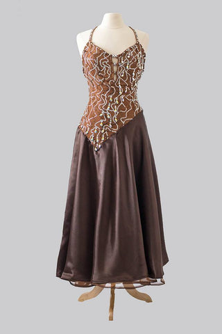 Brown Smooth Gown by Designer Bonnie's Belle