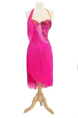 Fringed Pink Latin Gown