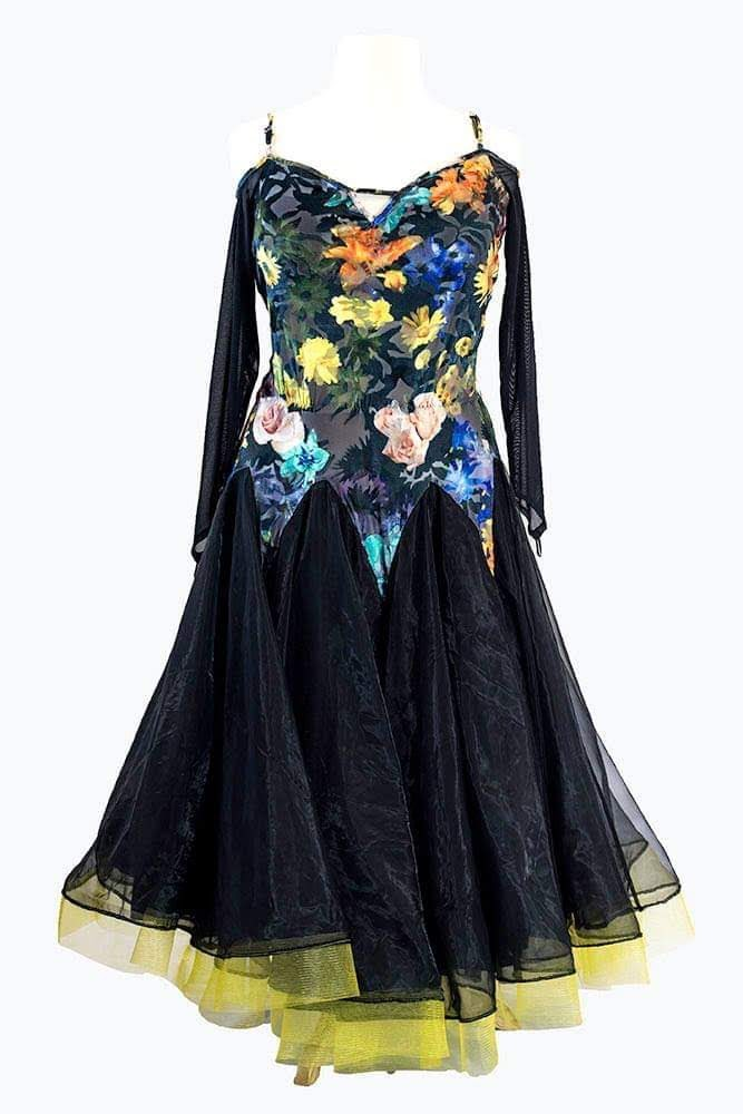 Black with flowers on the bodice (For Rent)