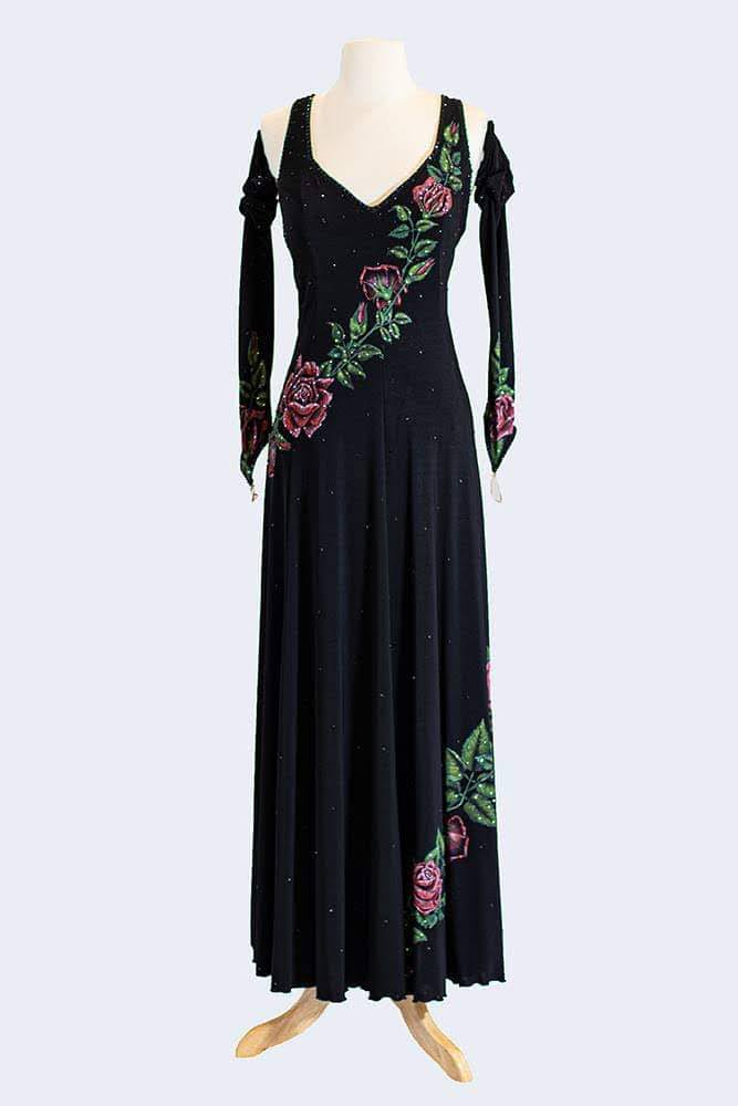 Black Smooth Gown with Rose decorations