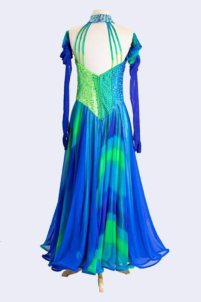 Multi-hued Green and Blue Gown