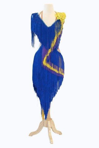 Blue Fringed Gown
