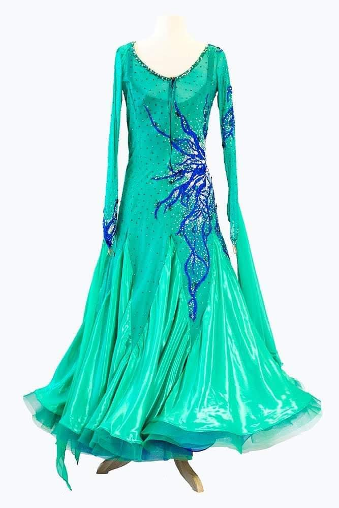 Green gown with blue appliques and stones