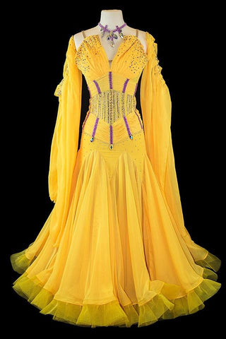 Yellow Gown with purple accents