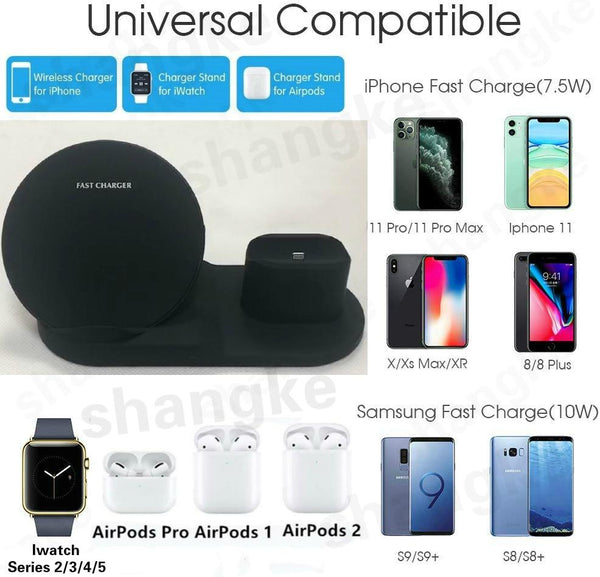 3 in 1 Fast Wireless Charger Dock Station Fast Charging For iPhone 11 11 Pro XR XS Max 8 for Apple Watch 2 3 4 5 For AirPods Pro-TrendUp Clothing