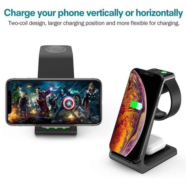 3 in 1 Wireless Charger For iPhone 11/Xs AirPods Apple Watch Charging Stand iPhone 11Pro/Xr/Xs Max-TrendUp Clothing