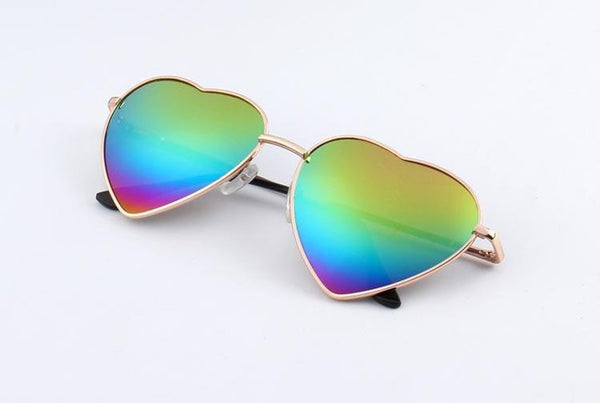 Boutique Heart Shaped Reflective Sunglasses - TrendUp Clothing