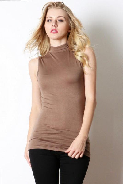 Classic Turtleneck Sleeveless Top - Beige-TrendUp Clothing