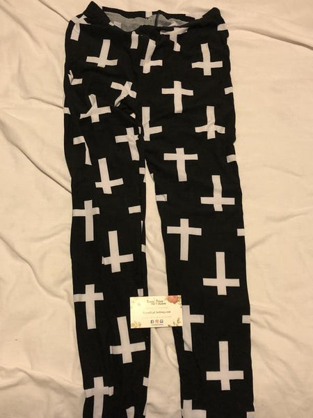 Cross Print Brushed Ankle Leggings-TrendUp Clothing