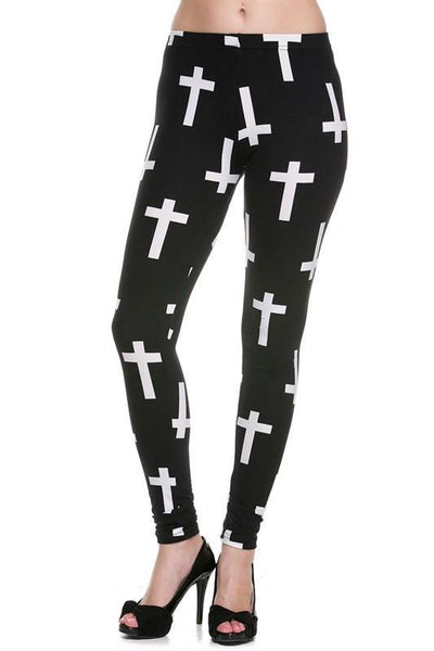 Cross Print Brushed Ankle Leggings - TrendUp Clothing