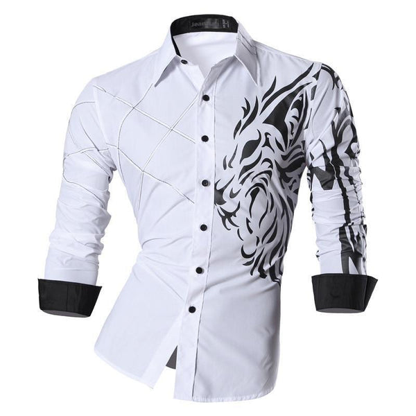 Fierce Lion Long Sleeve Dress Shirt-TrendUp Clothing