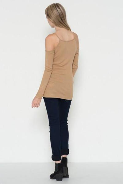 Longsleeve Cold Shoulder Top-TrendUp Clothing