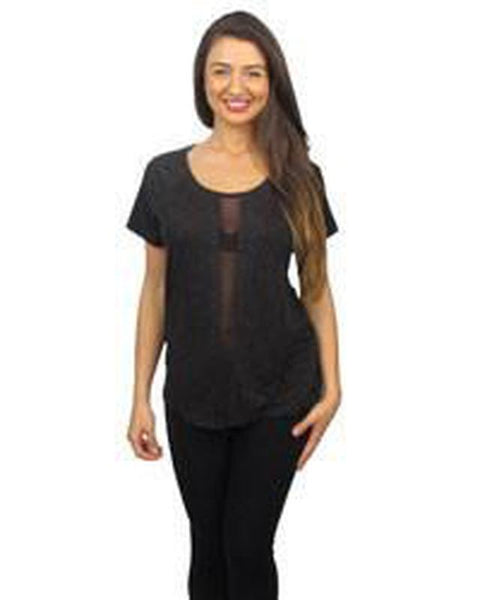 Short Sleeve Top w/ Mesh Front - TrendUp Clothing
