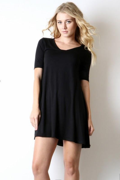 Short Sleeve V-Neck Tunic Top-TrendUp Clothing