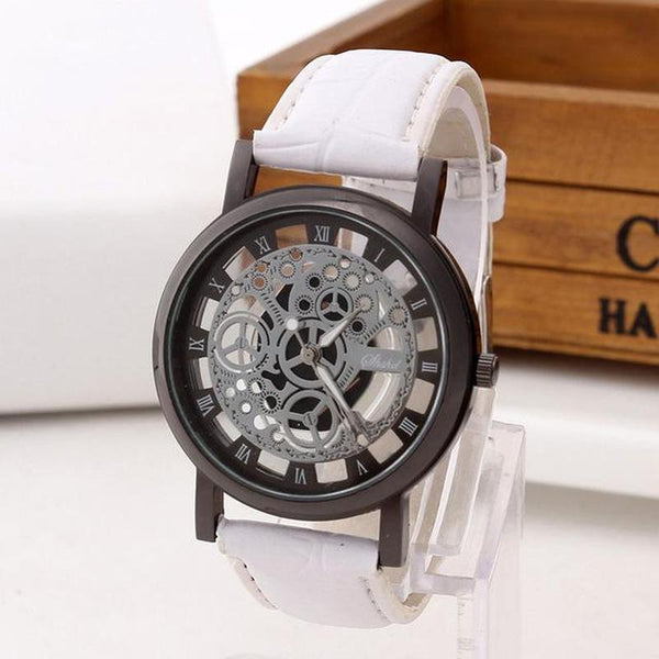 Skeleton Quartz Leather Wristwatch Watch-TrendUp Clothing