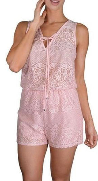 Sleeveless Laced Romper - TrendUp Clothing