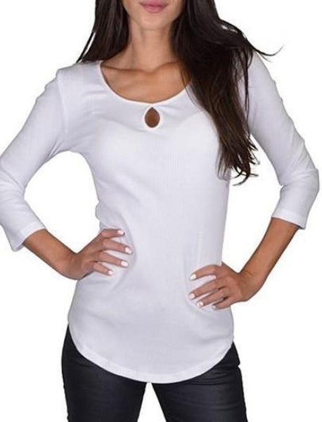 Top with Round Neckline and Keyhole-TrendUp Clothing