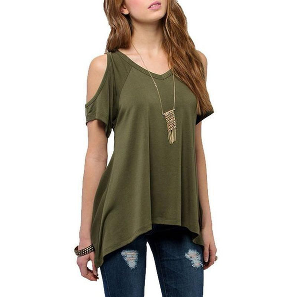 V Neck Off Shoulder Shirt-TrendUp Clothing