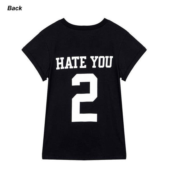 "Womens ""HATE YOU 2"" T-Shirt 100% Cotton-TrendUp Clothing"