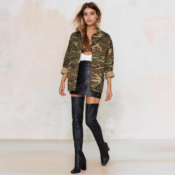 Womens Loose Camouflage Coat - TrendUp Clothing