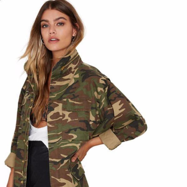 Womens Loose Camouflage Coat-TrendUp Clothing